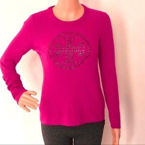 Tory Burch pink logo cashmere/wool sweater